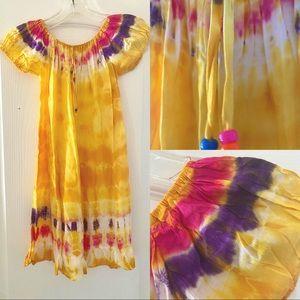 Girls Tie Dye Yellow Dress